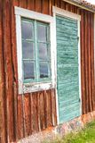 Old Green Cabin Door and Window Royalty Free Stock Image