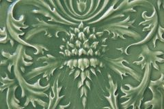 Green Ceramic Tile with Floral Pattern Royalty Free Stock Photography
