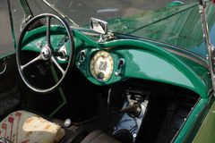 Classic car interior. Old green classic car interior Royalty Free Stock Photography