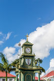 Old Green Clock Tower in St Kitts Royalty Free Stock Photography
