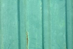Old green corrugated sheet iron Stock Photos