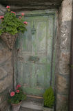 Old Green Door. An old green door on a cottage in St Austell Cornwall Royalty Free Stock Photo