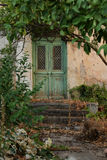 Old green door. Old house with vintage green door and overgrown plants Royalty Free Stock Photos