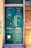 Old Green Door: Tagged Royalty Free Stock Photography