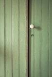 Old green door with white handle Stock Images