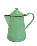 Old green enamel coffee pot isolated. Old green enamel coffee pot with lid and handle.  Isolated on white Stock Photo