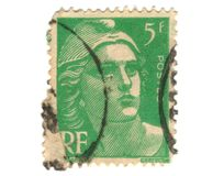 Old green french stamp Stock Photography