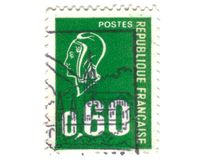 Old green french stamp Royalty Free Stock Photos