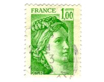 Old green french stamp Stock Image
