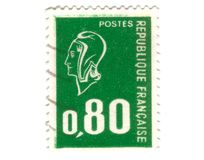 Old green french stamp Royalty Free Stock Images