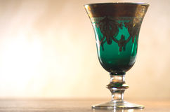 Old green goblet. In transparency Stock Image