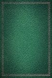 Old green leather texture gold frame Stock Images
