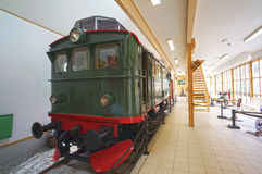 An old green locomotive in Flamsbana museum. Flam, Norway. May 05, 2013 Stock Images