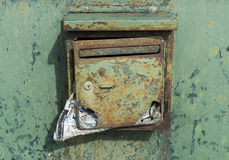 Old Green Mailbox with Mail Stock Image