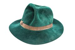 Old green male hat. Isolated on white Royalty Free Stock Photography