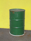 Old green metal barrel Stock Photo