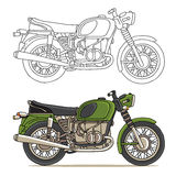 Old green motorcycle. Vector color illustration on white background Royalty Free Stock Photography
