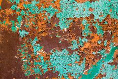 Old green paint on the metal and drips of rust. grunge vintage texture for background.  Royalty Free Stock Images