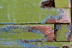 Old green paint on a wooden hive Stock Images