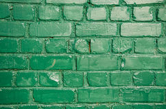Old green painted brick wall background Royalty Free Stock Photo