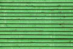 Old green painted wooden wall, background texture Stock Photo