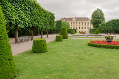 Old green park near the Schonbrunn Palace, Vienna. Stock Photos