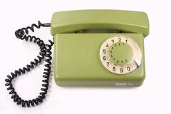 Old green phone. Isolated on white Stock Image