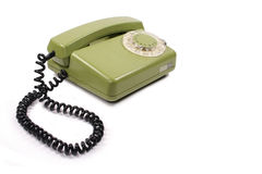 Old green phone Stock Photo