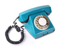 Old green phone. Old blue phone isolated on white background Royalty Free Stock Photo