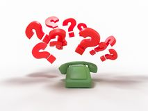 Old green phone without buttons with a question mark 3d render vector illustration