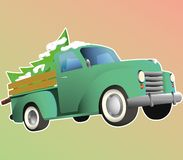 Old green pickup with christmass tree stock illustration