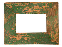 Old green picture frame. Empty old green weathered picture frame isolated on white Royalty Free Stock Image