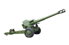 Old green russian artillery field cannon gun isolated over white Royalty Free Stock Photos