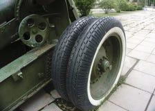 Old green russian artillery field cannon ,gun.  Stock Image