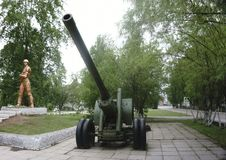 Old green russian artillery field cannon ,gun.  Royalty Free Stock Photography