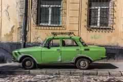 Old green Russian car in Lviv Royalty Free Stock Image