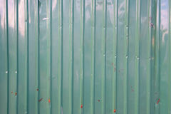 Old Green Rusted Corrugated Wall Texture Background Stock Photo