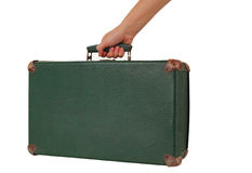 Old green shabby suitcase Royalty Free Stock Photography
