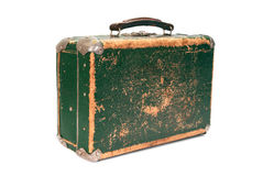 Old green shabby suitcase. On white background Stock Image
