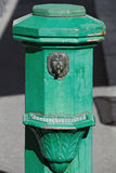 Old green street drinking fountain decorated with lion head Stock Photography