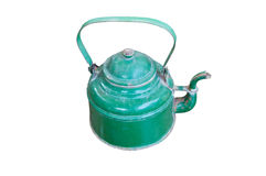 Old green teapot Made of Steel. Stock Photography