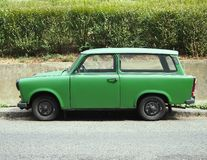 Old green Trabant. Viewed from the side stock photo