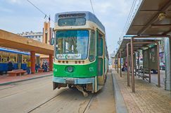 The old green tram, Alexandria, Egypt Royalty Free Stock Image