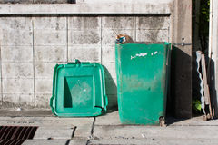 Old green trashcan Stock Photography