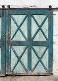 Old green turquoise coloured wood door Royalty Free Stock Image