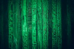 Old green vintage wood. Dark green vintage wood texture and background. Abstract texture and background for designers. Old vintage. Wood paint in dark green Stock Photography