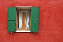 Old green window Stock Photos