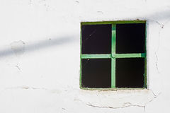 Old Green Window on Cracked Wall. Old Green Window on Rusty Cracked Wall Stock Photography