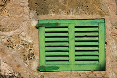 Old green window shutter Stock Photos