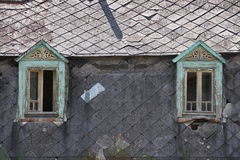 Old green windows Royalty Free Stock Images
